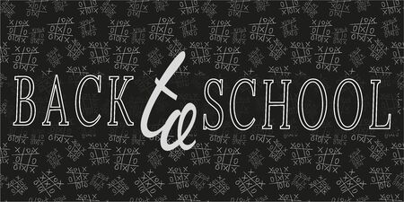 Pattern of game Tic Tac Toe, blackboard and chalk. Drawing of white contour on black background, art text Back to school. Vector illustration for design of  supplies, stationery, advertising, poster.