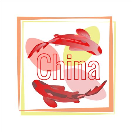Set of calligraphy China, red koi carps in square frame. Decorative pond, fish, text in frame. Vector graphics for fashion design, posters, travel companies, cards, covers, business cards.