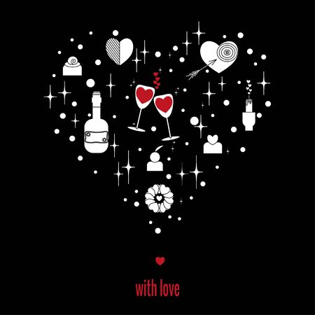 Set of elements for romance and love in  shape of heart on black background. Vector drawing in outlinear style for cards for birthday, wedding, Valentines Day, invitation. Çizim