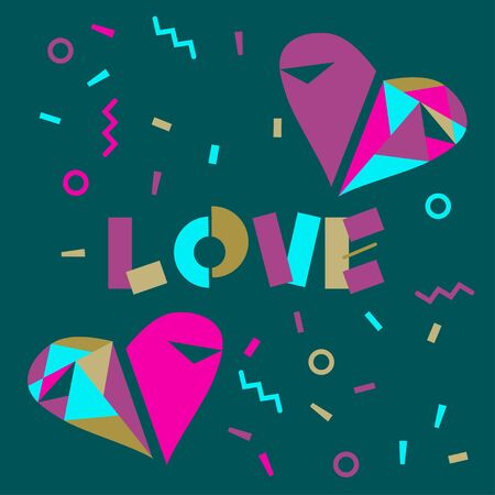 Love word hand drawn lettering, heart made of mosaic. Memphis background with geometric elements.  Vector illustration for greeting card, t-shirt, banner, poster, flyer. Ilustrace