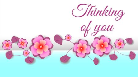 Horizontal banner with pink sakura flowers on light blue background and with place for text.  Text - Thinking of you. Vector illustration for holiday romance card.