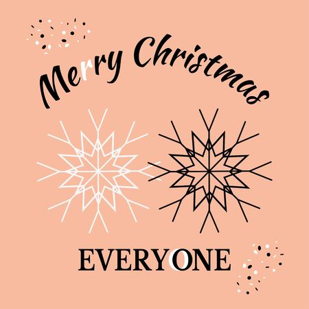 Merry Christmas everyone! Greeting card for Christmas and New Year. Black and white snowflakes together. Vector illustration for design visualization of tolerance, equality and celebration for all. Vectores