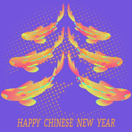 Happy Chinese New Year Greeting Card. On blue background stylized Christmas tree, carp koi fish. Vector illustration in fashionable color trends. Text. Banque d'images - 138766286