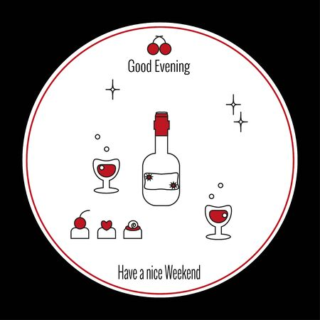 Glass of wine and sommeliers nose. Choice of wine. Circular white background on black square. Elements for restaurant menu, school sommelier in outline style. Vector illustration, icon style. Standard-Bild - 138766305