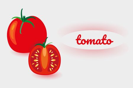 Colorful label with text. Whole tomato and cut. Fresh vegetables on white background. Vector illustration for design of fresh product, juice, canned food, menu for cafe, pizzeria, restaurant.