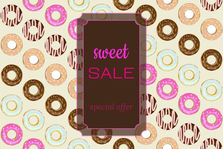 Template for sweet sale in market, cafe, bakery, pastry shop. Set of diagonal donuts assorted on bright. Vector illustration bright and attractive. Frame with text - Sweet Sale on chocolate bar. Standard-Bild - 139658852