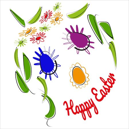 Decorative festive elements in form of  cheerful face in modern style. Easter eggs and outline flowers, green leaves, text Happy Easter. Vector illustration for spring poster design.