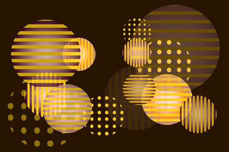 Round spheres with different ornaments and transparencies. Vector pattern with 1980s style in golden colors. Luxurious design for invitation, advertising, sales, business cards, posters. Ilustração