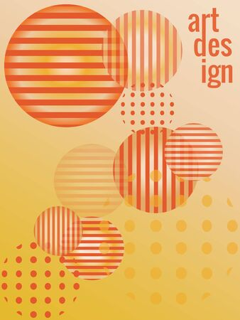 Vertical background in warm golden, yellow and orange colors. Geometric shapes, round spheres, gradients, transparency. Vector template for luxury designer invitations, advertising, sales, posters.