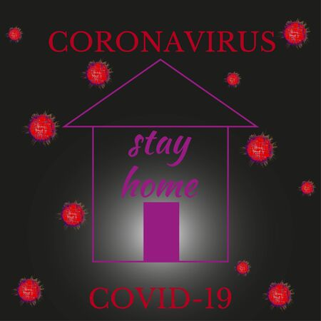 Stay home during coronavirus pandemic. This is virus protection for everyone. Ð¡oncept of quarantine during an epidemic. Vector illustration for poster, local health promotion, print on social network