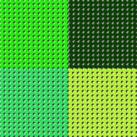 Set of different shades of saturated green color perforated flat surfaces of paper, plastic, metal. Seamless vector patterns for design.