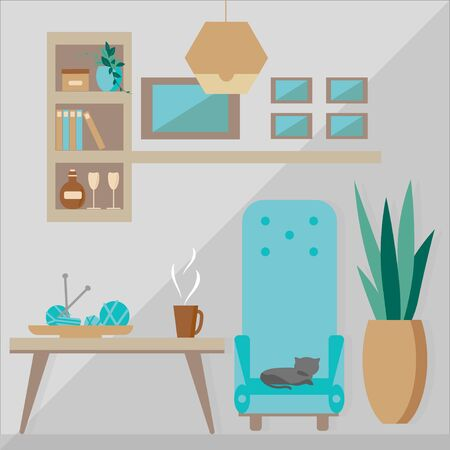 Cozy home interior of living room. Vector illustration in flat style. Template for design of interior design in trendy colors. Иллюстрация