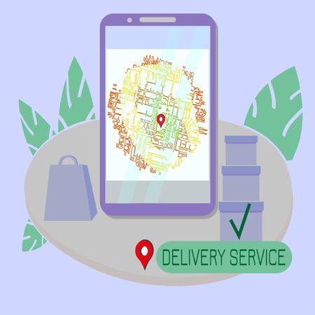 Internet delivery service on  map of city by region. Template for web banner at order address. Vector illustration for design concept in terms of staying at home. Illusztráció