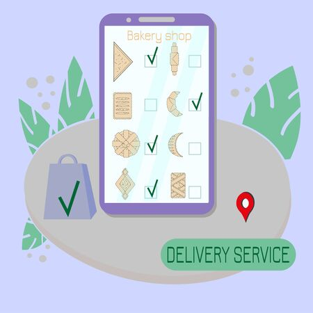 Online delivery service for bakery shop. Order sheet in application for mobile phone. Template for web banner ordering an assortment of stores, delivery to address. Vector illustration in flat style.