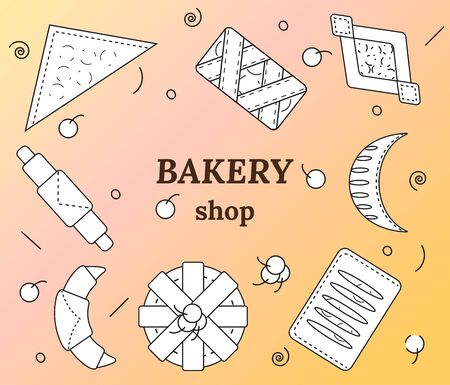 Set of bakery and pastry products in outline style. Croissants, bagels, puffs, roll, buns of puff pastry with fresh berries and jam. Vector illustration for bakeries, cafe, menu. 向量圖像