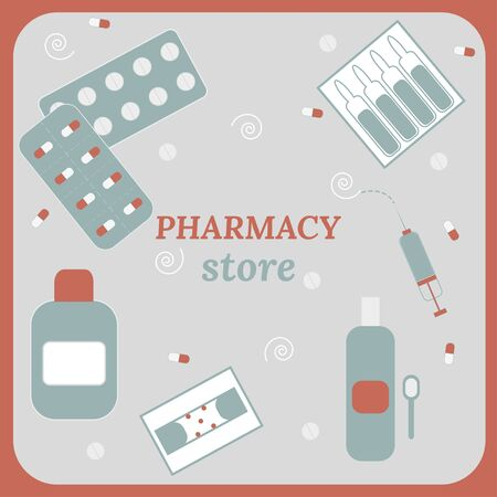 Set of pharmacy products in a flat style in monochrome colors. Pharmacy store and its range. Pills, capsules, vitamins, syrup, ampoules, syringe vector illustration.