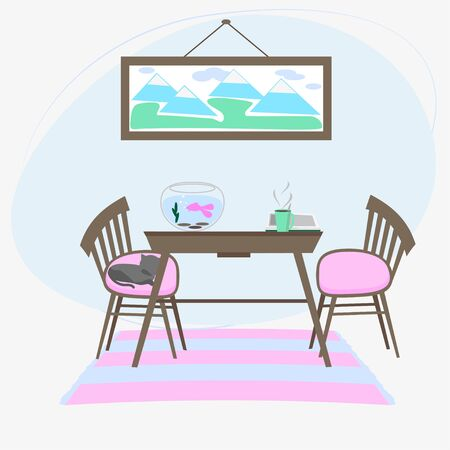 Read book in comfortable room. Table, two chairs, an aquarium with fish, cat, an open book, cup of hot coffee, picture with  landscape on wall. Vector illustration in light colors.