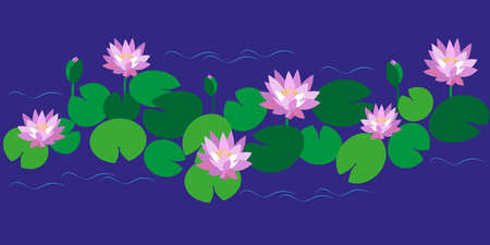 Horizontal pattern with flowers, buds and pink lotus leaves on blue background. Vector illustration for design of botanical collection, textiles, postcards, dishes, stationery.