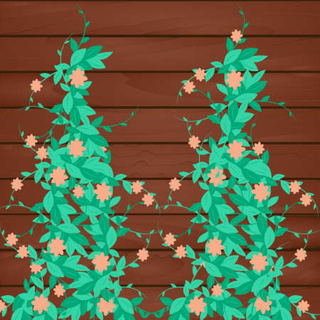 Curly vertical green plant with flowers near wooden wall of house, fence. Vector illustration for garden design, greenhouse, cottage, house.