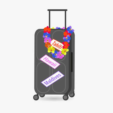 Large suitcase for travel on white background. Colored wreath, beads from orchid flowers. Vector illustration for design of social pages, travel agencies, postcards, stickers.