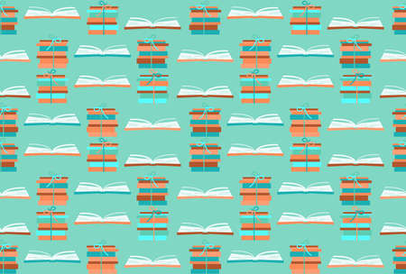 Books open for reading and learning, stacks of books. Back to school seamless pattern. Trendy colors, for design of school supplies, textiles, wallpaper.