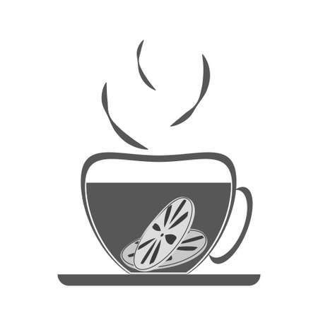 Hot drink with lemon in cup. Lemon tea for colds. Black silhouette on white background. Vector drawing. Иллюстрация