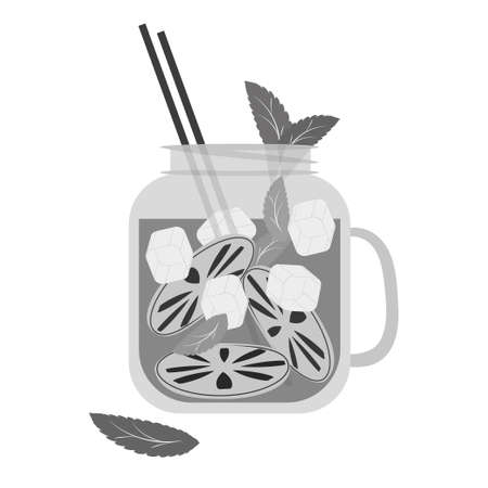 Refreshing drink in cocktail jar. Cocktail with lemon, mint and ice with straw. Black silhouette on white background. Vector drawing.