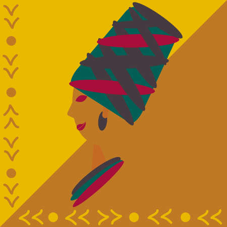 Profile of an African woman in national headdress. Trendy colors, national decor. Vector illustration for design of social networks, print on clothes, t-shirt. Vettoriali