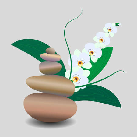 Zen stone balance, delicate white orchid flower. 3D image of stones, flowers. Vector illustration for spa salons, yoga studios, relaxation studios.