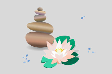 Zen stone balance, delicate white lotus flower, water lily. 3D image of stones, flowers. Vector illustration for spa salons, yoga studios, relaxation studios. Ilustrace