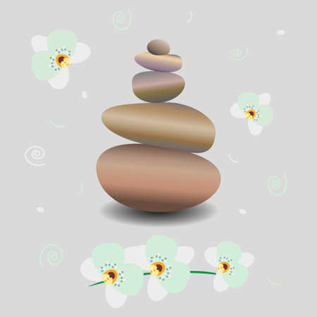 Zen stone balance, delicate white orchid flowers and decor. 3D image of stones, flowers. Vector illustration for spa salons, yoga studios, relaxation studios.