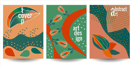 Set of abstract artistic templates with natural elements and plants. Vector illustration, trendy universal design and colors for poster, banner, flyer, magazine cover, notepad.