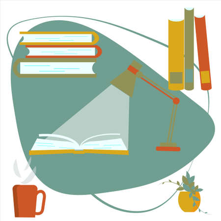 An open book, table lamp and cup of hot drink. Fascinating, meditative, calm time. Stack of books. Set of vector images in flat style. Fashionable pastel colors.