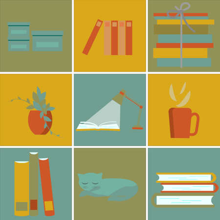 Read a book, stack of books, cup of hot coffee, boxes for stationery, flower on table, cat. Set of cute illustrations in flat style, warmth, comfort. Vector pattern.