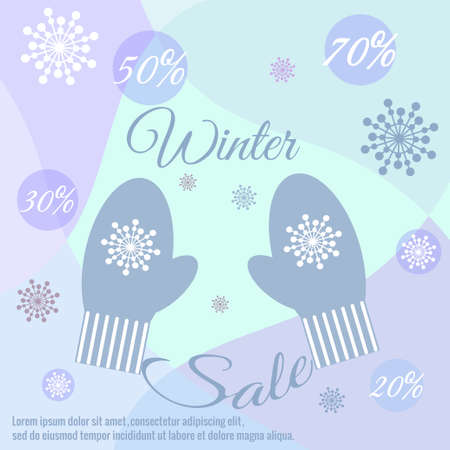Winter Sale banner. Warm mittens, snowflakes, balls, discounts, percentages, text, decor. Vector illustration for New Years, Christmas sales, magazines, websites, banners. Trendy light blue colors.