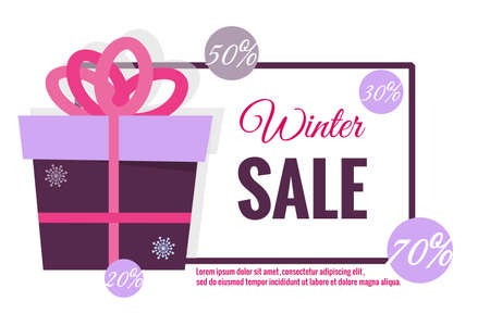 Winter sale banner. Gift in box, snowflakes, balls, discounts, percentages, text, frame. Vector illustration for New Years, Christmas sales, magazines, websites, banners. Trendy blue, pink, purple.