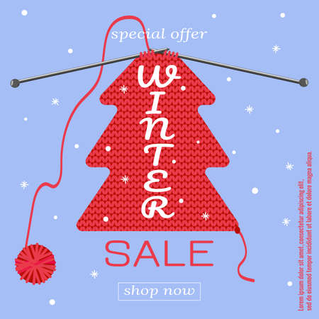 Winter sale banner. Knitting pattern, snowflakes, skein of thread. Vector illustration for New Year advertising, sales, magazines, websites. Иллюстрация