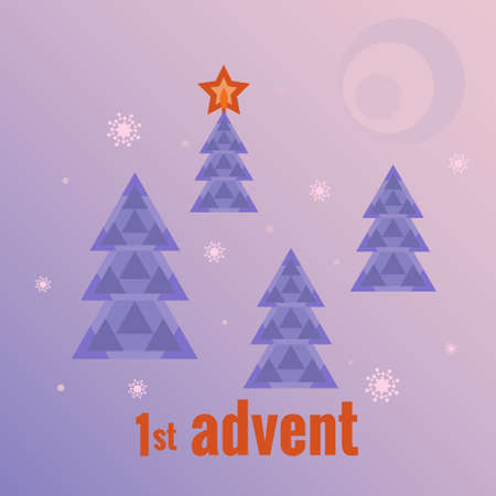 Winter forest, four Christmas trees, one tree with burning star, snowflakes, moon. First Sunday of Advent. Vector illustration in flat style. Countdown of Christmas, for social networks, banners.