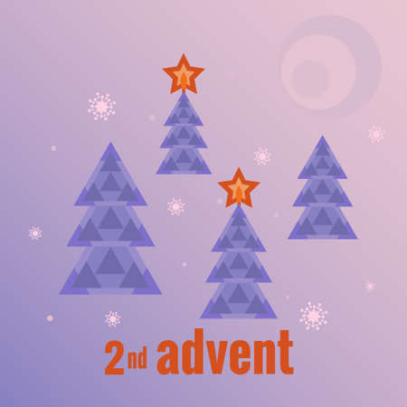 Winter forest, four trees, two trees with burning stars, snowflakes, moon. Second Sunday of Advent. Vector illustration in flat style. Countdown of Christmas, for social networks, banners.