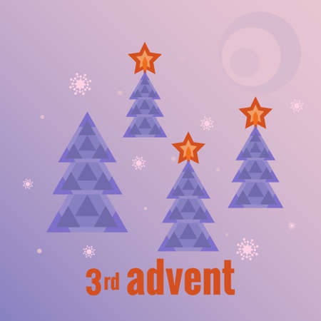 Winter forest, four trees, three trees with burning stars, snowflakes, moon. Third Sunday of Advent. Vector illustration in flat style. Countdown of Christmas, for social networks, banners. Ilustracja