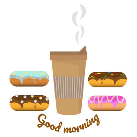 Hot coffee in disposable takeaway cup and set of sweet donuts with different glazes, toppings and fillings. Breakfast time, coffee time. Good morning text. Vector illustration on white background.