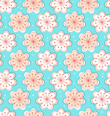 Seamless floral pattern of flowers with petals and stamens. Vector illustration for wallpaper, textile, background in pink pastel colors.