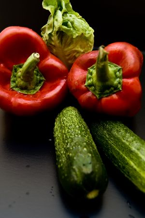 Red peppers, cucumber and lattuce Stock Photo - 3528852
