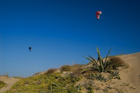 kitesurf: Kitesurf and sand dunes Stock Photo
