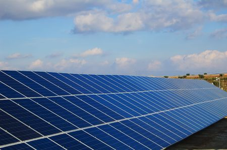 photovoltaic panel: Solar power plants. Solar panels in south of Spain Stock Photo
