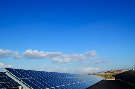 photocell: Solar power plants. Solar panels in south of Spain Stock Photo