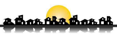 Little village silhouette Vector