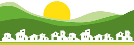 Klein dorp silhouet met groene berg Stock Illustratie