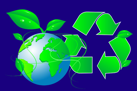 Green world - Recycling symbol with leaves Vector