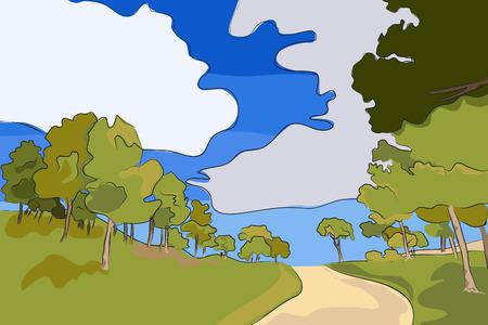 Landscape - Rural road vector illustration Vector